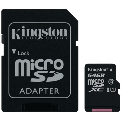 Kingston canvas select muistikortti microsdxc 64gb adapterilla