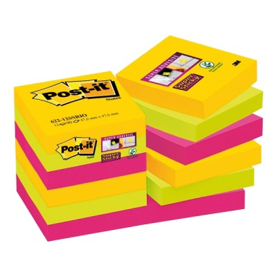 Post-it super sticky viestilappu rio 47,6x47,6mm, 1 kpl=12 nidettä