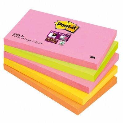 Post-it super sticky viestilappu 76x127mm cape town, 1 kpl=5 nidettä