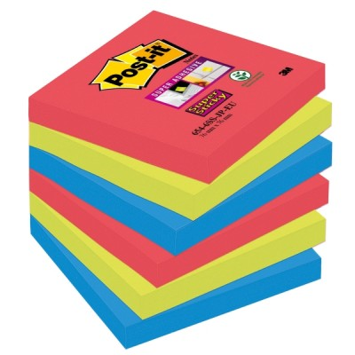 Post-it super sticky viestilappu bora bora 76x76mm, 1 kpl=6 nidettä