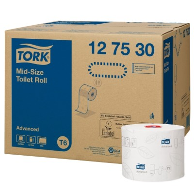 Tork advanced mid-size wc-paperi t6, 1 kpl=27 rullaa